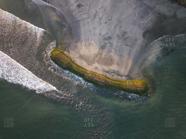 Indonesia- Bali- Aerial view of Kuta beach from above