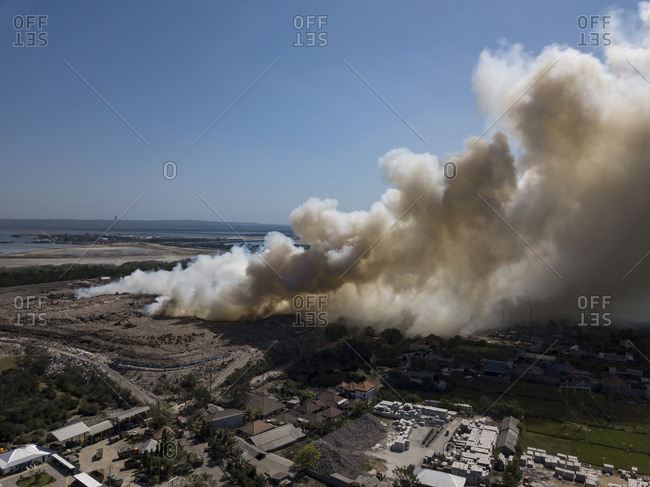 Indonesia- Bali- Aerial view of Sanur- fire- smoke