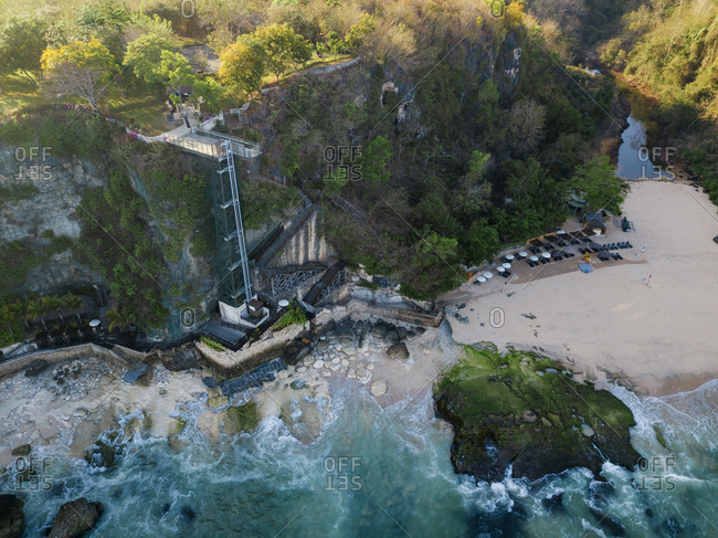 Indonesia- Bali- Aerial view of lift and beach