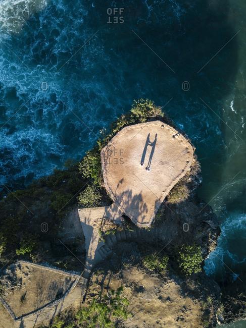 Indonesia- Bali- Aerial view of viewpoint at Balangan beach