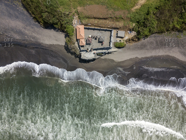 Indonesia- Bali- Aerial view of Yeh Gangga beach- Yeh Gangga Temple