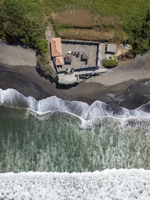Indonesia- Bali- Aerial view of Yeh Gangga beach- Yeh Gangga Temple