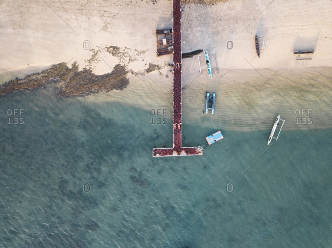 Indonesia- Lombok- Aerial view of seaweed on the pier