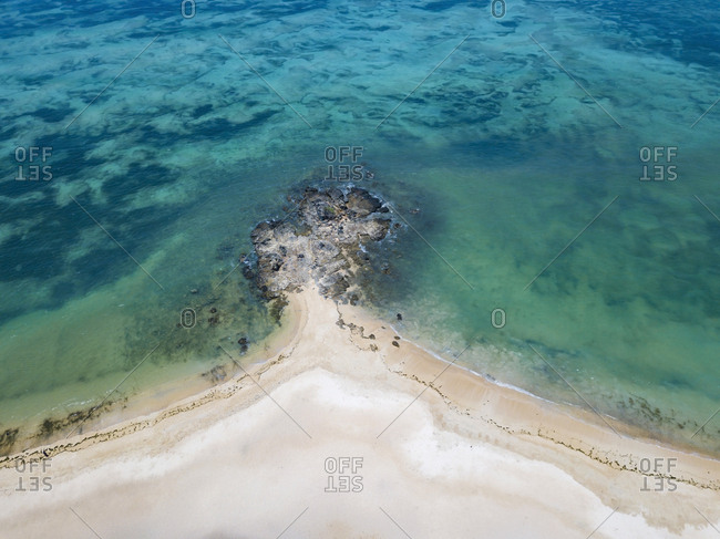 Indonesia- Lombok- Kuta- Aerial view of beach
