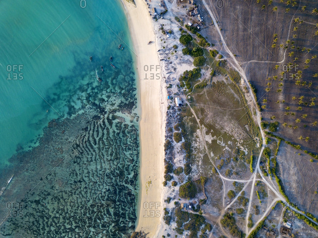 Indonesia- Lombok- Aerial view of beach