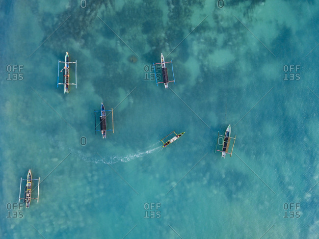 Indonesia- Lombok- Aerial view of banca boats