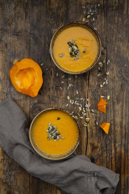 Pumpkin soup with pumpkin and sunflower seeds