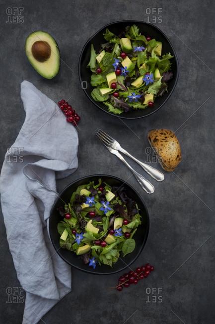 Two bowls of mixed salad with avocado- red currants and borage blossoms