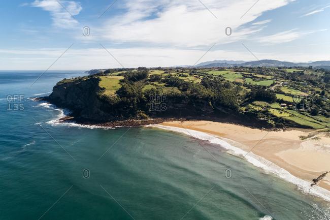 Spain- Asturias- Aerial view of beach