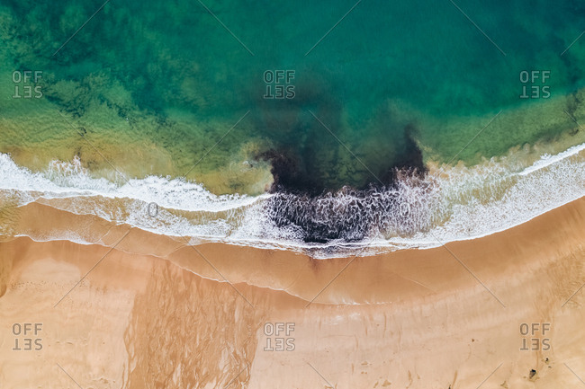 Spain- Asturias- Aerial view of beach from above