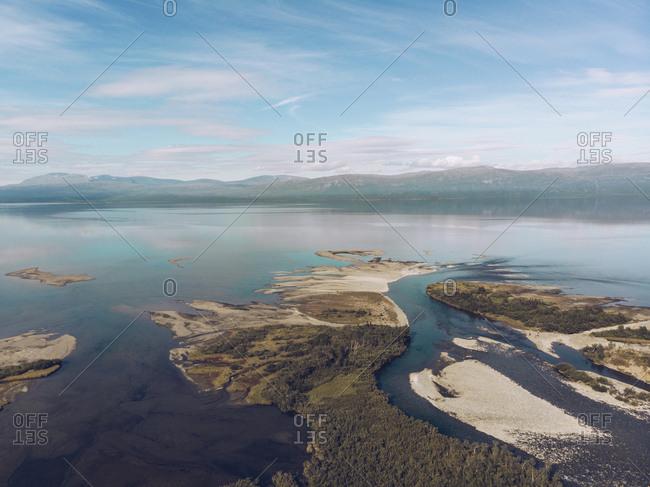 Sweden- Abisko- Aerial view of lake Tornetraesk