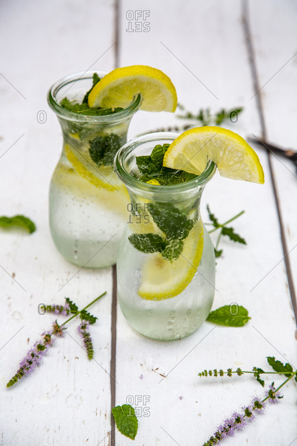 Infused water with mint and lemon- detox