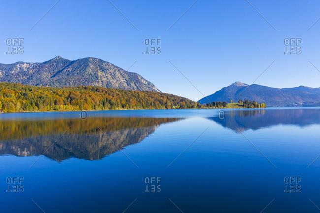 Germany- Bavaria- Upper Bavaria- Lake Walchen- Herzogstand and Jochberg- Peninsula Zwergern