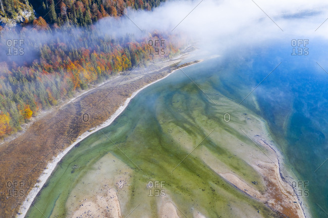 Germany- Lenggries- Isarwinkel- Aerial view of Isar river- at tributary into Sylvenstein Dam in autumn