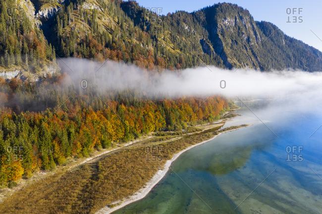 Germany- Bavaria- Upper Bavaria- Lenggries- Isarwinkel- Aerial view of Sylvenstein Dam in autumn