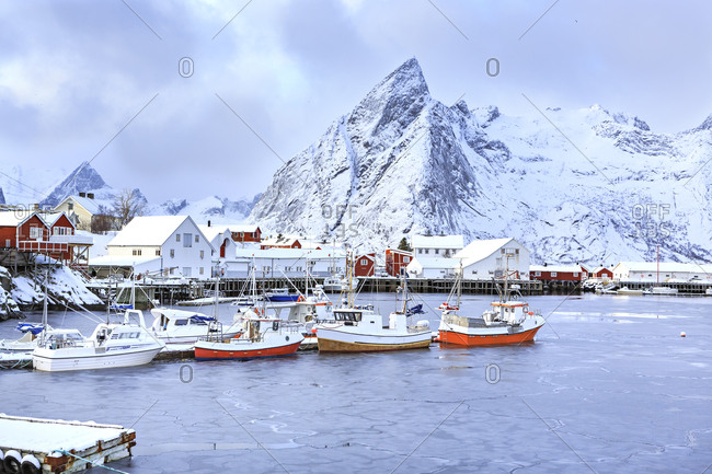 Norway- Lofoten- Hamnoy Island- fisherman's cabins and boats