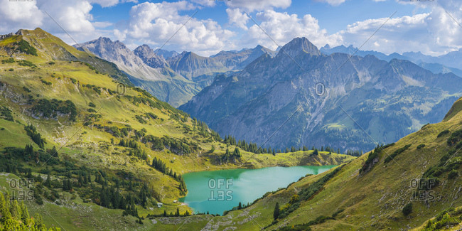 Germany- Bavaria- Allgaeu Alps- Panoramic view to Seealpsee- Oy Valley- f.l. Grosser Wilder- Kleiner Wilder and Hoefats