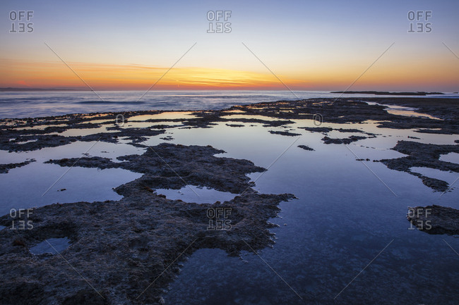 Africa- South Africa- Western Cape- Cape Town- coast at sunset