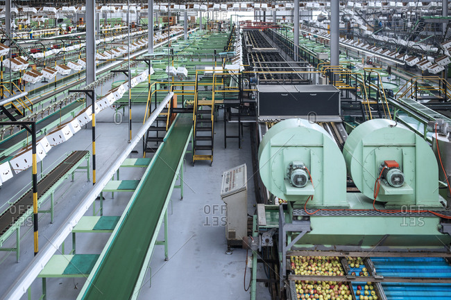Machines in apple factory