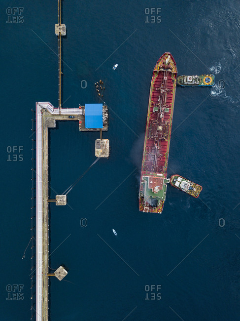 September 19, 2018: Indonesia- Bali- Aerial view of tanker ship