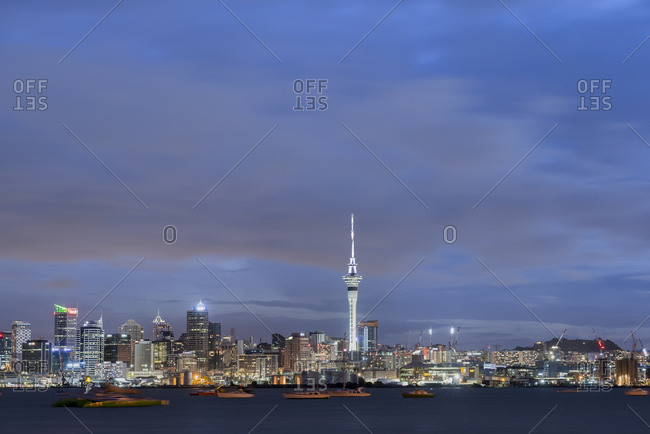 January 2, 2018: New Zealand- North Island- Auckland- Auckland skyline at dusk
