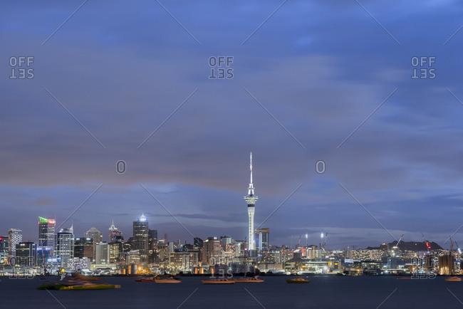 January 2, 2018: New Zealand- North Island- Auckland- Auckland skyline at dusk