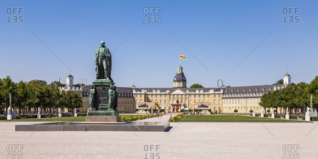 July 19, 2018: Germany- Karlsruhe- Castle and castle square with Charles Frederick monument