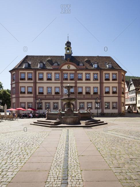 July 16, 2018: Germany- Rhineland-Palatinate- Neustadt an der Weinstrasse- Market square- town hall