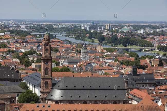 July 13, 2018: Germany- Baden-Wuerttemberg- Heidelberg- Neckar river- City view with Church of the Holy Spirit