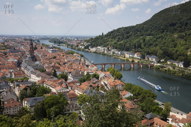 July 13, 2018: Germany- Baden-Wuerttemberg- Heidelberg- Neckar river- City view with Charles-Theodore-Bridge