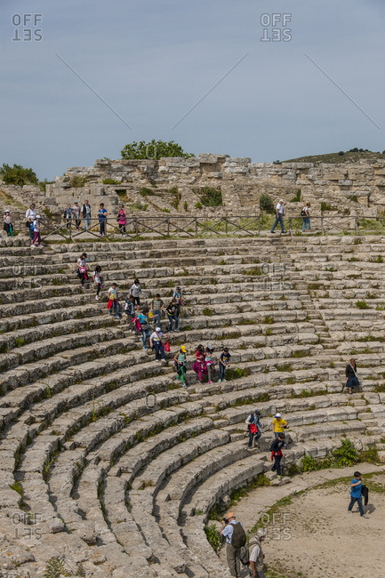 May 12, 2014: the theater, partially excavated in the rock with a 63 meter wide cavea, dates back to the III century and takes as a spectacular backdrop to the representations, the splendid panorama that sweeps up to the sea