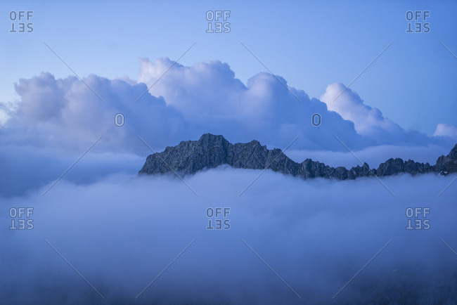 view of Brenta mountains from Car� Alto Dante Ongari Refuge (2450 mt), the small church