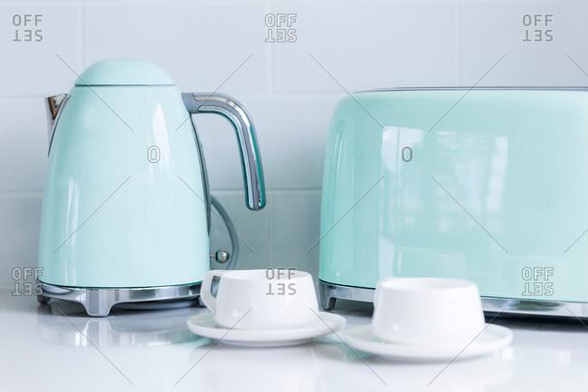 Blue tea kettle and toaster