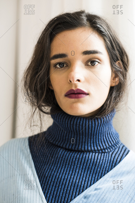 New York City, NY, USA - February 13, 2017: Beautiful model backstage during the Mara Hoffman fashion show