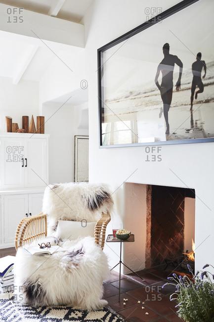Los Angeles, California, USA - February 27, 2018: Furry chair in a modern designed beach house