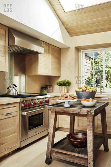Malibu, California, USA - January 8, 2015: Modern kitchen in a beach house