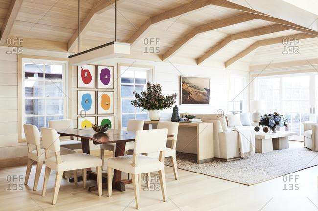Malibu, California, USA - January 8, 2015: Modern design of a Malibu beach house