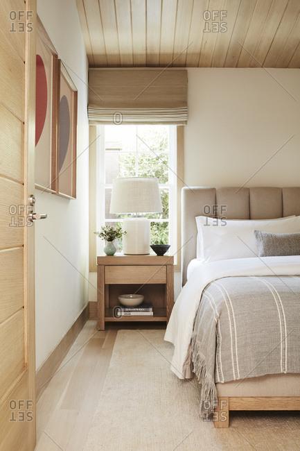 Malibu, California, USA - January 8, 2015: Modern design of Malibu beach house bedroom