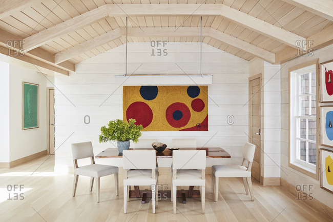 Malibu, California, USA - January 8, 2015: Modern design of a Malibu beach house dining room