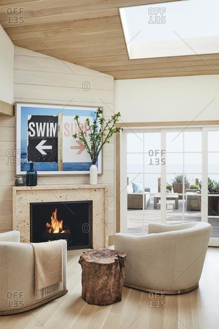 Malibu, California, USA - March 14, 2017: Modern living room in a Malibu beach house