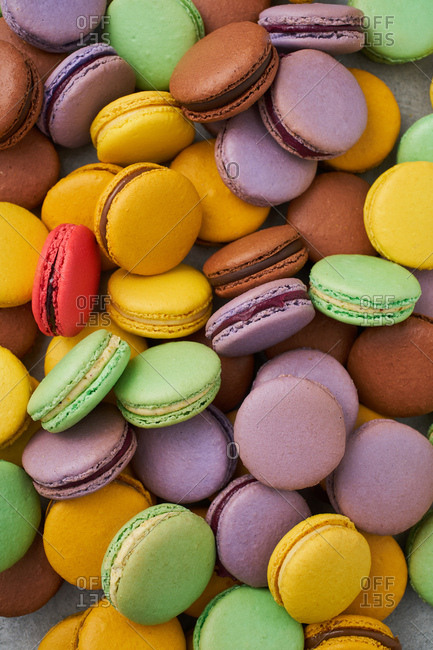 Variety of colorful macarons