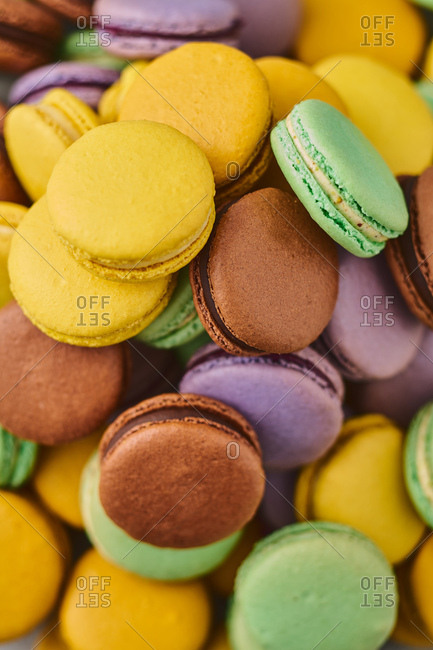 Close-up of assorted macarons