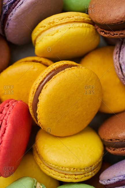 Close-up of brightly colored macarons