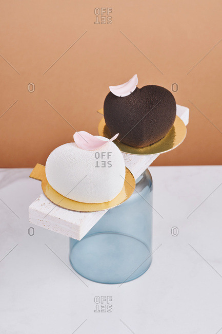 Chocolate and vanilla heart-shaped mousse desserts