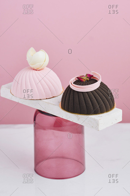 Display of two mousse desserts
