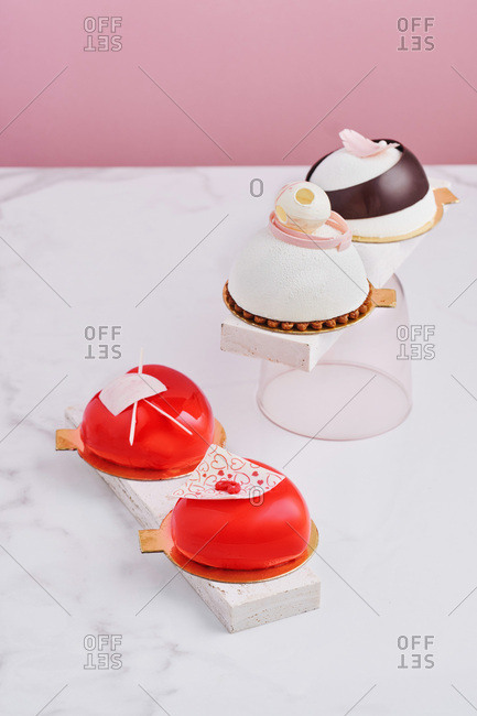 Variety of mousse desserts