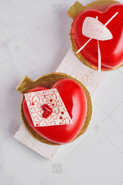 Red heart-shaped mousse desserts
