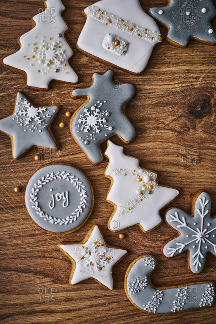Christmas cookies in a variety of shapes