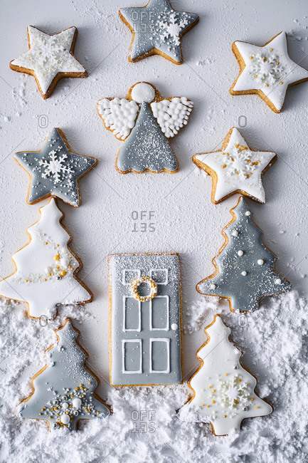 Christmas cookies arranged in a winter scene