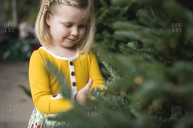 Portrait of a girl picking out a Christmas tree